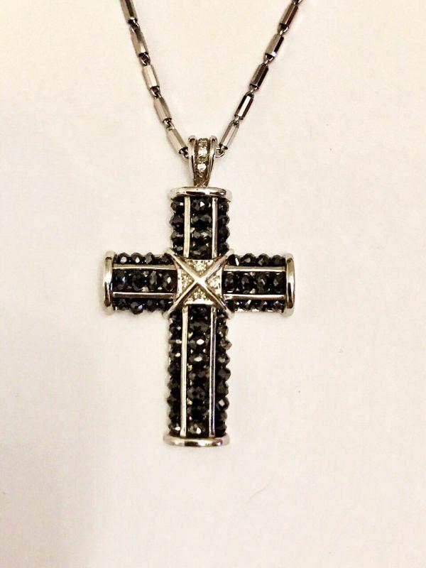 Подвес Крест с черными бриллиантами