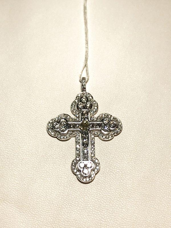 Подвеска - крест с бриллиантами