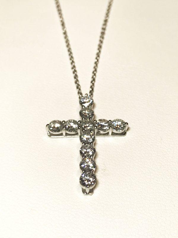 Подвеска - крестик с бриллиантами